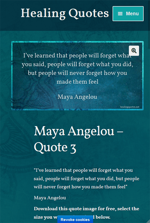 Healing Quotes - Quote page mobile