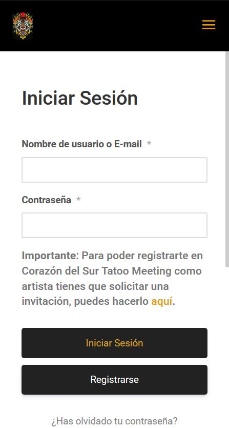 Corazon del sur Tattoo Meeting - log in mobile