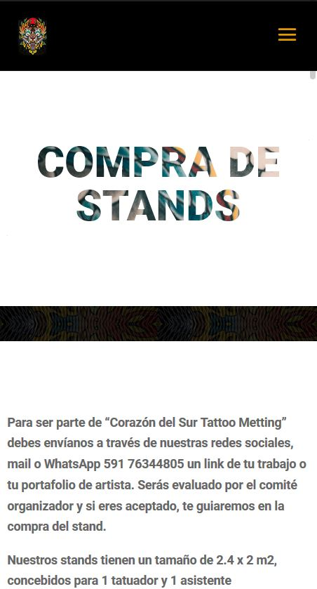 Corazon del sur Tattoo Meeting - Stand selection mobile